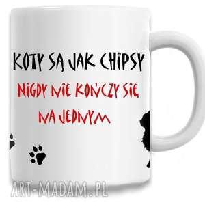 Prezent Kubek - koty są jak chipsy, kubek, kot, koty, napis, śmieszne, prezent