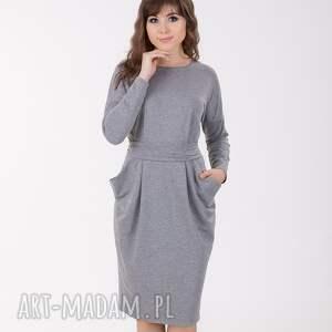 IDA sukienka z kieszeniami, szary melanż., sukienka, lalu, kimono, kieszenie, luźna,