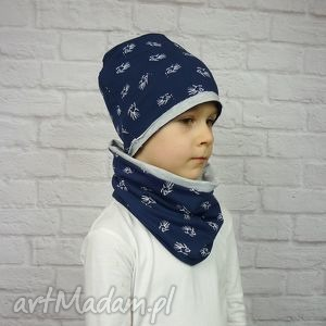 cienka czapka i komiin dla chłopca - bawełna, chłopak, wiosenny