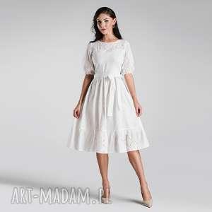 sukienka bogna midi haft angielski biel, sukienka, pasek, lato