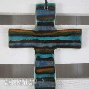 kolorowy krzyżyk ceramiczny, krzyż, na ścianę, pasiasty, chrzciny, komunia