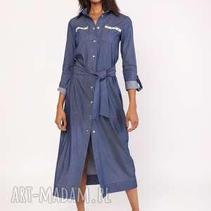 długa sukienka w stylu militarnym, suk158 jeans, sukienka, maxi
