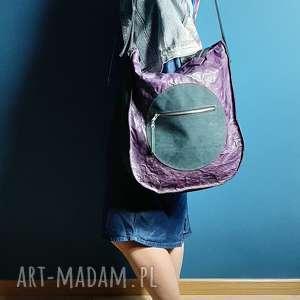partasza torba skórzana duża fiolet z czarnym, torba, skóra naturalna