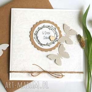 kartka ślubna :: handmade motyle, ślub, eko