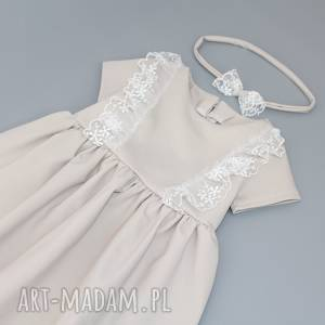 Sukienka z haftem i opaska, koronka, falbankami, falbanki