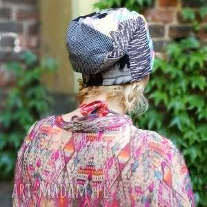 czapka smerfetka długa wzory patchwork, czapka, lato, choroba, włosy