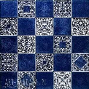 ręcznie zrobione ceramika kafle mix ciemnoniebieski, 25 sztuk