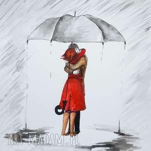 ręcznie zrobione dekoracje zakochanym parasol sam się trzyma akwarela artystki adriany