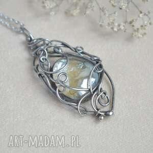 handmade naszyjniki lodowy klejnot - naszyjnik ze szkłem