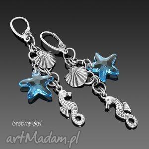 może nad morze srebrny styl - wiszące, oksydowane, swarovski
