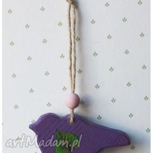 handmade zwierzaki ptaszek drewniany fioletowy