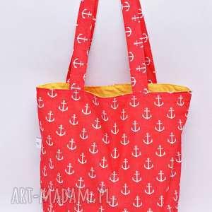 Torba na zakupy ekologiczna Shopperka kotwice czerwone, torba, shopperka,