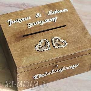 Pudełko z kluczykiem - 2 serca, drewno, pudełko, koperty, ślub, eko, rustykalne