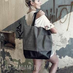 duża grafitowa torba na ramię shopper, z kieszeniami, zamek, miejska