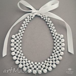 Kolia perłowo biała ze srebrnym akcentem, ślub, komunia, perły, wstążka, korale