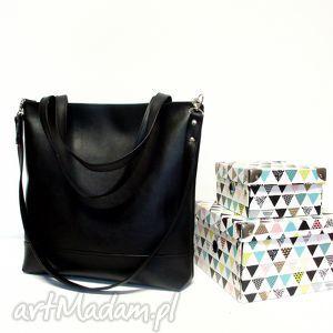 Shopper Bag, torba, czarna, klasyczna, wygodna, modna, hanmdmade