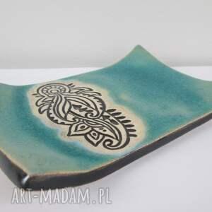 etniczna mydelniczka ceramiczna, turkusowa, mydelniczka, etno, dekoracyjna
