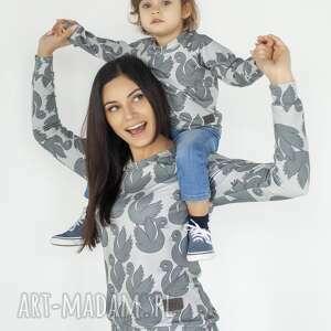 animals by libou zestaw bluz dla mamy i dziecka szare łabędzie, mama corka bluzy
