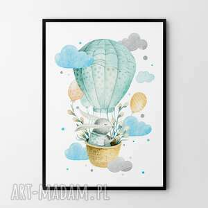 Plakat obraz odlotowy zajączek 50x70 cm b2 pokoik dziecka
