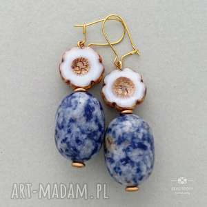 unikalny, anemony z sodalitem, metal, szkło, kwiatek, sodalit, kamień, beczułka