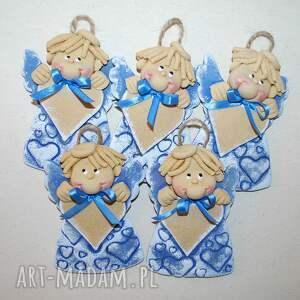 niebieskie serducha - anioły z masy solnej sercem na dedykację, anioły, masa