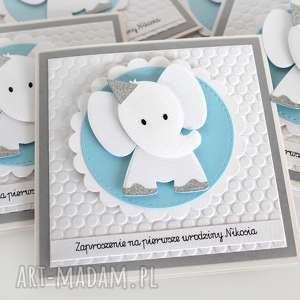 handmade zaproszenie na urodziny, roczek - słonik