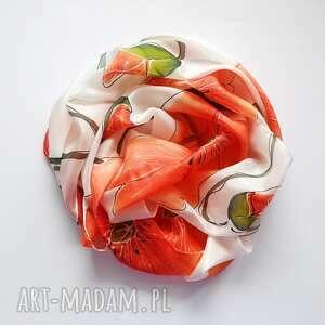 jedwabny malowany szal - maki na białym tle, makowy szal, jedwabny, czerwone maki