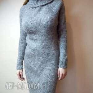 sweter tunika, na drutach, golf, gruba wełna, zimę, tunika swetry, wyjątkowy