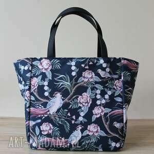 hand-made pomysły na prezenty święta shopper bag - rajskie ptaki