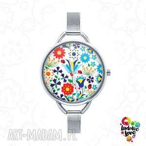 zegarki zegarek z grafiką kaszubski, folk, etniczne, kaszuby, ludowe, kwiaty, kwiat