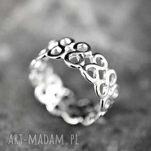 925 srebrny pierścionek nieskończoność, ósemki