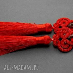 czerwone kolczyki sutasz, wiszące, długie, sztyfty, chwost, eleganckie, wyjściowe