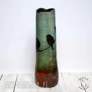 hand-made ceramika wazon ptaki raku wysoki