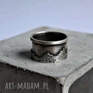 obrączki obrączka z górami, góry, srebro, tatromanik, pierścionek górami