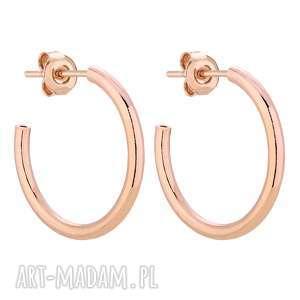 półokrągłe kolczyki xl z różowego złota - różowe kolczy