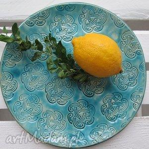 turkusow talerz patera indie - ,patera,turkusowa,ceramiczna,talerz,ceramiczny,
