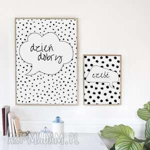 Zestaw 2 plakatów / DZIEŃ DOBRY A3, cześć, hej, kropki, typografia, skandynawski