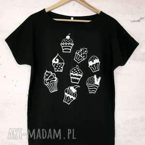 creo muffinki koszulka bawełniana z nadrukiem l/xl czarna, koszulka, bluzka, nadruk