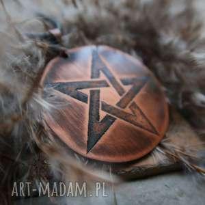 Wisior z trawionej miedzi - Odwrócony Pentagram, pentagram, odwrócony, pentakl