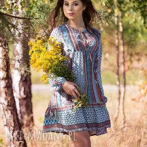 kati sukienka z falbanką i wiązaniem, sukienka, lalu, falbanki, zwiewna, kolorowa