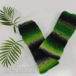 mitenki zielono-czarne rękawiczki cieniowane wiosenne, jesienne kobiece