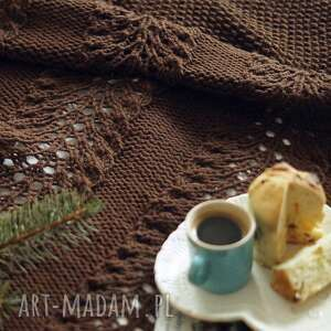 koce i narzuty czekoladowy pled, koc, na drutach, ażurowy, dziergany