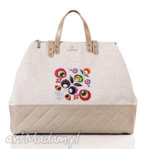 podróżne torba podróżna folk 423, folk, podróż, haft, len torebki