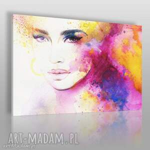 obraz na płótnie - kobieta kolory 120x80 cm 39801, kobieta, kolory, tęcza, portret