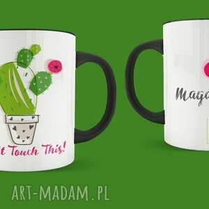 wyjątkowy prezent, ceramika kubek dont touch this, kubek, ilustracja