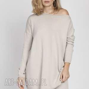 lekka dzianinowa bluza, swe169 beż mkm, dzianina, cienka, lekka, sweter