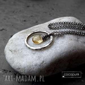 srebrny naszyjnik z cytrynem-do noszenia w kółko, kółkiem, geometryczny