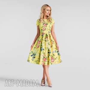 sukienka marie midi jovelin, rozkloszowana, w kwiaty