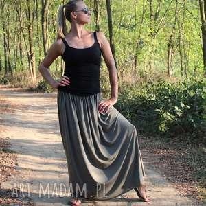 spódnice długa zwiewna spódnica typu boho oliwka, spódnica, boho