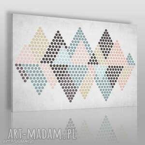 obraz na płótnie - trójkąty kropki pastele 120x80 cm 73801, kropki, trójkąty, góry